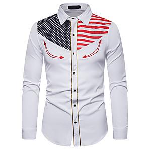 povoljno Muške košulje-Veličina EU / SAD Majica Muškarci - Vintage Party / Praznik Jednobojni Klasični ovratnik Vezeno Bijela Crn / Dugih rukava
