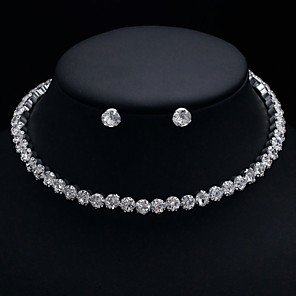 povoljno Kvarcni satovi-Žene Ogrlica Naušnica Teniski lanac Jednostavan Luksuz Europska Elegantno Imitacija dijamanta Naušnice Jewelry Srebro Za Vjenčanje Party Angažman Dar Dnevno