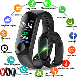 ieftine Spoturi LED-m3 inteligente sport brățară tracker de fitness cu ritm cardiac monitor bluetooth pedometru impermeabil pentru Android iOS
