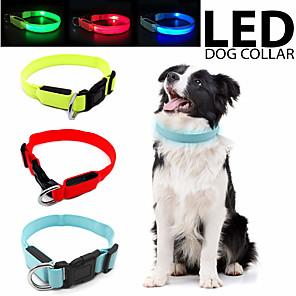 ieftine Câini Gulere, hamuri și Curelușe-Câini Pisici Animale Mici Gulere Ajustabile / Retractabil LED-urile luminează intermitent Mată Poliester Negru Portocaliu Galben