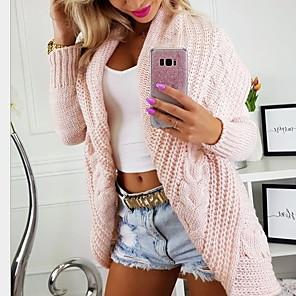 ieftine Cercei-Pentru femei Mată Manșon Lung Cardigan Pulover pulovere, Glugă Roz Îmbujorat / Albastru piscină / Gri S / M / L