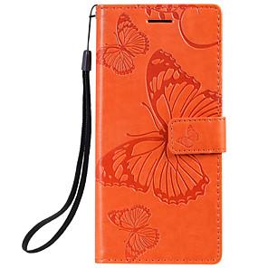 Недорогие Чехол Samsung-чехол для Samsung Galaxy Note 10 Galaxy Note 10 плюс телефон чехол искусственная кожа материал тиснением бабочка рисунок сплошной цвет чехол для телефона