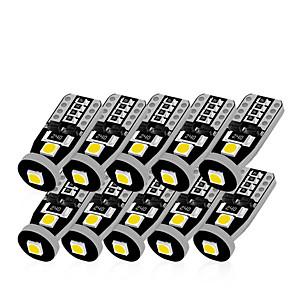 ieftine Lumini de Interior Mașină-10pcs t10 led alb 3smd 5050 led light car w5w 194 168 becuri de eroare canbus 12v lampă pană rotativă semnalizare bandă decodificator semn