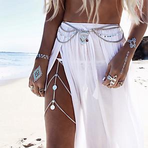 ieftine Bijuterii de Corp-Corp lanț / burtă lanț Lănțișor Picior femei Boho Boem Pentru femei Bijuterii de corp Pentru Casual Sport Franjuri Aliaj Auriu Argintiu Lanț de picioare turcoaz auriu