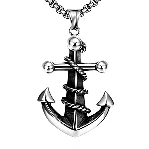 povoljno Muški satovi-Muškarci Ogrlice s privjeskom Geometrijski Sidro Moda Titanium Steel Srebro 60 cm Ogrlice Jewelry 1pc Za Dnevno Praznik