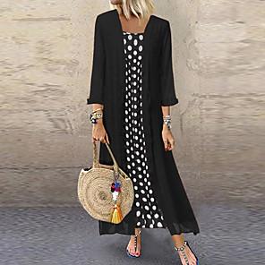 Χαμηλού Κόστους Print Dresses-Γυναικεία Βίντατζ Σετ - Πουά, Στάμπα Φορέματα