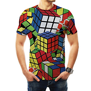 お買い得  LED T シャツ-男性用 プリント Tシャツ ベーシック / 誇張された 3D / 虹色 / グラフィック マジックキューブ レインボー