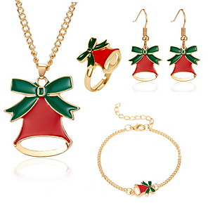 voordelige Sieraden Set-Dames Druppel oorbellen Ketting Armband Bel oorbellen Sieraden Goud Voor Kerstmis 4 / Ring