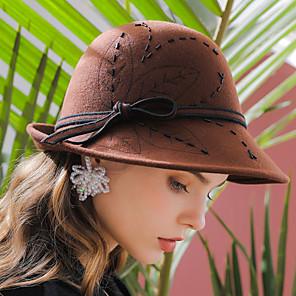 ieftine Costume film & teme TV-Elizabeth Audrey Hepburn Pentru femei Adulți femei Retro / Vintage Cloche Hat pălărie Negru Roșu Maro Mată Vintage Lână Veșminte de cap Lolita Accesorii