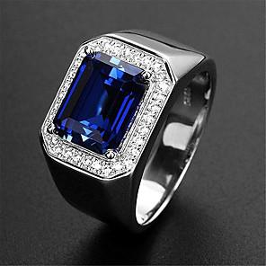 povoljno Prstenje-Muškarci Prilagodljivi prsten Sintetički Sapphire 1pc Srebro Platinum Plated Legura Stilski Vjenčanje Dar Jewelry Slatko / Dnevno