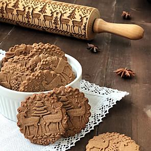 ieftine Ustensile & Gadget-uri de Copt-35cm lemn de Crăciun în relief gulerul de coacere prăjitură prăjituri biscuite tort fondant aluat gravat cu role de copt instrument de coacere patiserie