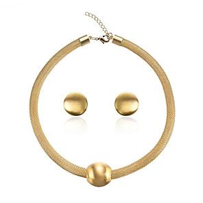 ieftine Colier la Modă-Pentru femei Seturi de bijuterii de mireasă Împletit Vertical Stilat cercei Bijuterii Auriu Pentru Petrecere Zilnic 1set / Cercei