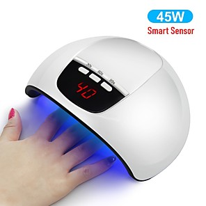 ieftine Îngrijire Unghii-45w uscător de unghii inteligent led lampă de unghii cu detectare automată cu afișaj LCD cu cronometru cu 15 buc leds 30s / 60s / 90s senzor auto instrumente de manichiură pentru gel uv în stoc livrar