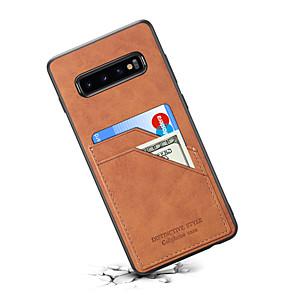 Недорогие Чехлы и кейсы для Galaxy Note Edge-Кейс для Назначение SSamsung Galaxy Note 9 / Galaxy S10 / Galaxy S10 E Бумажник для карт Кейс на заднюю панель Однотонный Кожа PU / ПК