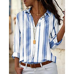 ieftine Papetărie-Pentru femei Zilnic Cămașă Dungi Manșon Lung Topuri Guler Cămașă Albastru piscină Roșu-aprins Galben