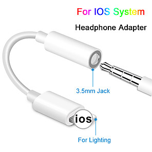 cheap Apple-For IOS Syetem Headphone Adaptador For iPhone 7 8 X AUX Audio Adapter for Lightning To 3.5mm Adapters Headphone Jack Cable