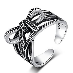 ieftine Inele-Pentru femei manşetă Ring 1 buc Negru S925 Sterling Silver Stilul Folk Steampunk Cadou Zilnic Bijuterii Nod Funda