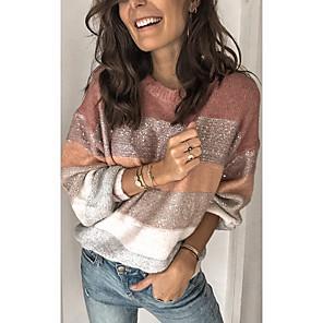 ieftine Ceasuri Bărbați-Pentru femei Bloc Culoare Manșon Lung Larg Plover Pulover pulovere Iarnă Roz Îmbujorat S / M / L