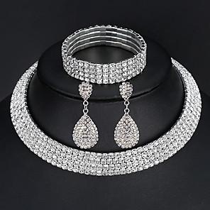 ieftine Cercei-Pentru femei Seturi de bijuterii Brățări Bangle Cercei Picătură pava European Modă Elegant Italiană De Fiecare Zi Iced Out Diamante Artificiale cercei Bijuterii 2 rânduri / 3 rânduri / 4 rânduri
