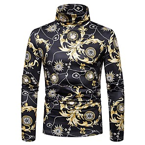 povoljno Muški satovi-Majica s rukavima Muškarci - Osnovni / Elegantno Sport / Izlasci Cvjetni print / Color block Crn