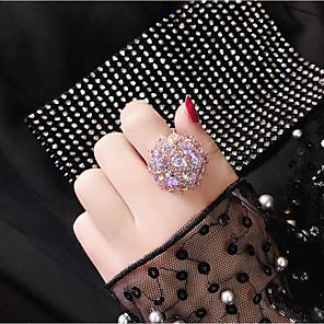 ieftine Inele-Pentru femei Inel Zirconiu Cubic 1 buc Roz auriu Alb Placat Auriu Aliaj Rotund Stilat Petrecere Zilnic Bijuterii Clasic Floare Cool