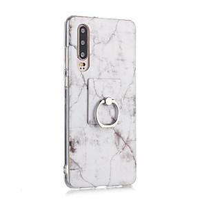 billiga Skal och fodral till Huawei-fodral Till Huawei Huawei P30 / Huawei P30 Pro / Huawei P30 Lite Ringhållare / Ultratunt / Mönster Skal Marmor TPU