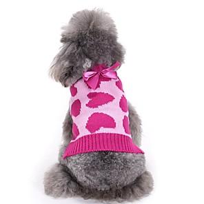 ieftine Imbracaminte & Accesorii Căței-Câini Pulovere Iarnă Îmbrăcăminte Câini Fucsia Costume Corgi Beagle Shiba Inu Fibră Acrilică Nod Papion Iubire Sweet Style stil minimalist XS S M L