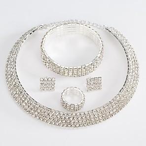 ieftine Colier la Modă-Pentru femei Alb Zirconiu Cubic Seturi de bijuterii de mireasă Geometric Αστέρι Declarație Modă Diamante Artificiale cercei Bijuterii Argintiu Pentru Nuntă Petrecere 1set / Cercei