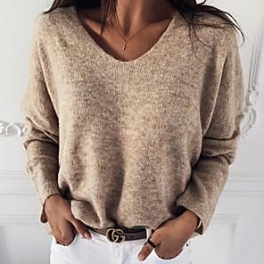 povoljno Zidni ukrasi-Žene Jednobojni Dugih rukava Pullover Džemper od džempera purpurna boja / Bijela / Red S / M / L