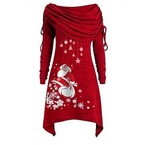 ieftine Imbracaminte & Accesorii Căței-Pentru femei Asimetric Mov Roșu-aprins Rochie De Bază Crăciun Petrecere Purtare Zilnică Linie A Geometric De Pe Umăr Mos Craciun S M