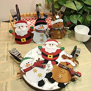 ieftine Decorațiuni de Casă-6 buc bucătărie tacâmuri de buzunar furculi tacamuri Mos Craciun masa de cină decorare acasă