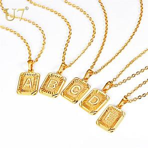 povoljno Ženski satovi-Muškarci Žene Ogrlice s privjeskom Ogrlica Charm Necklace X Slovo Jednostavan Moda Početno Nakit Kamen Zlato Srebro 55 cm Ogrlice Jewelry 1pc Za diplomiranje Dar Dnevno Festival