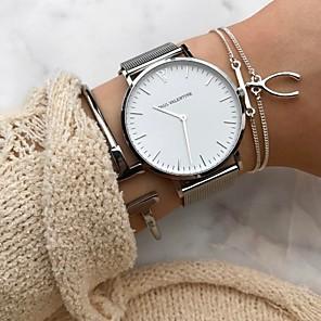 ieftine Brățări-Pentru femei Ceas de Mână ceas de aur Quartz Oțel inoxidabil Negru / Argint / Roz auriu Cronograf Analog Casual Modă Elegant Crăciun - Negru Negru și Auriu Roz auriu Un an Durată de Viaţă Baterie