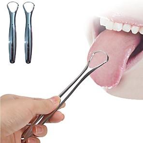 ieftine Gadget Baie-2pc răzuitoare de limbă utilă oțel inoxidabil curatare limbă orală perie medicală reutilizabilă pentru creșterea respirației proaspete