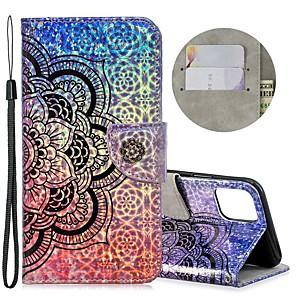 ieftine Componente DIY-Maska Pentru Apple iPhone 11 / iPhone 11 Pro / iPhone 11 Pro Max Portofel / Titluar Card / Cu Stand Carcasă Telefon Floare PU piele