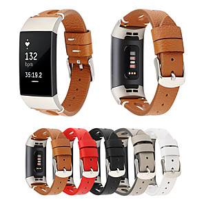 ieftine Fâșii Becurie LED-Curea de piele autentică pentru fitbit charge 3 brățară de înlocuire a brățării de bandă pentru ceas pentru femei bărbați pentru fitbit 3