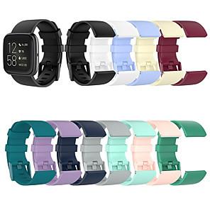 Недорогие Ремешки для спортивных часов-универсальный браслет для fitbit versa2 / versa lite / versa силиконовый ремешок официальный глянцевый ремешок из нержавеющей стали с пряжкой