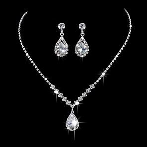 ieftine Seturi de Bijuterii-Pentru femei Lănțișor Cercei Lantul de tenis Picătură Simplu Corean Dulce Modă Elegant Diamante Artificiale cercei Bijuterii Argintiu Pentru Petrecere Logodnă Cadou Zilnic Promisiune 1set