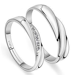 ieftine Inele Cuplu-Modă cuplu ieftin inel culoare argintiu 2pcs reglabilă strasuri pentru femei bărbătești inel pentru bărbați inele iubitori de bijuterii