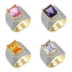 povoljno Prstenje-Muškarci Prsten Kubični Zirconia 1pc White / White purpurna boja Bijela mesing Geometric Shape Moda Party Dnevno Jewelry Vintage Style Pasijans Cool