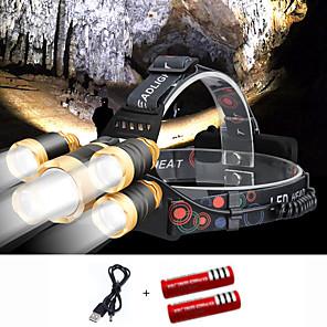 ieftine Proiectoare Mini Laser-Frontale Lumini Capac Becul farurilor 2000 lm LED 5 emițători 4.0 Mod Zbor cu Baterii și Cabluri USB Portabil Antivânt Cool Ușor de Purtat Rezistent la uzură Camping / Cățărare / Speologie Scufundare
