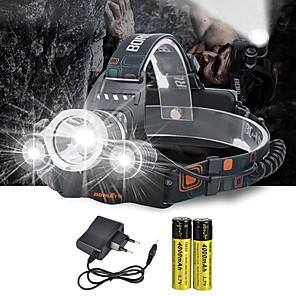 ieftine Frontale-Frontale Becul farurilor 10000 lm LED emițători 4.0 Mod Zbor cu Baterii și Încărcătoare Anglehead Potrivite Pentru Autovehicule Foarte luminos Camping / Cățărare / Speologie Ciclism Vânătoare Alb