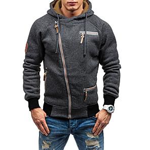 povoljno Muške majice s kapuljačom i trenirke-Muškarci Veći konfekcijski brojevi Sport Ležerne prilike Slim Hoodie Jednobojni S kapuljačom
