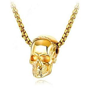 ieftine Coliere-Bărbați Pentru femei Coliere cu Pandativ Geometric Craniu Modă Oțel titan Negru Auriu Argintiu 50 cm Coliere Bijuterii 1 buc Pentru Cadou Zilnic