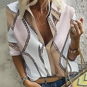 povoljno Zidni ukrasi-Bluza Žene Dnevno / Kauzalni Geometrijski oblici / Lanac Ispis Kragna košulje purpurna boja / V izrez