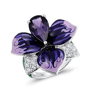 povoljno Naušnice-Žene Band Ring Prsten Kubični Zirconia 1pc purpurna boja Glina Stilski Luksuz Moda Vjenčanje Angažman Jewelry Cvijet