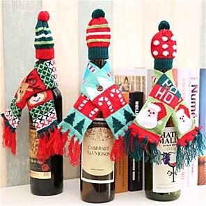 povoljno Ženski satovi-božićne dekoracije za dom božićne boce vina pokrivač odjeće set kapa šal šal stol dekor 2019 navidad novogodišnji pokloni