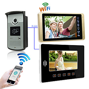 ieftine Benzi Lumină LED-LITBest Cu Cablu & Wireless 7 inch Mâini-libere 1024*600 Pixel Interfon video 1 la 2