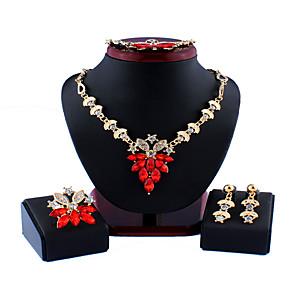 ieftine Seturi de Bijuterii-Pentru femei Roșu Alb Seturi de bijuterii de mireasă Link / Lanț Floare Stilat Simplu Vintage Reșină Ștras cercei Bijuterii Alb / Rosu Pentru Crăciun Nuntă Petrecere Logodnă Cadou 1set / Cercei