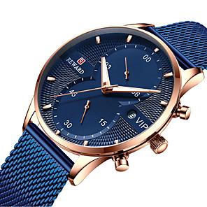 ieftine Ceasuri Bărbați-REWARD Bărbați Oțel Inoxidabil Quartz Stl Oțel inoxidabil Negru / Albastru / Argint 30 m Rezistent la Apă Calendar Cronograf Analog Casual Modă - Negru Auriu Albastru Un an Durată de Viaţă Baterie